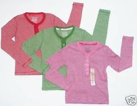 Faded Glory NEW Red Pink Green Lot of 3 Striped Sequins Henley Tee Top G... - $18.00