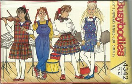 Butterick Sewing Pattern 4342 Girls Jumper Jumpsuit Skirt Scarf Size 12 14 New - $9.99