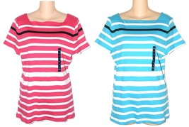Chaps Women's Striped Bright Pink or Aqua Blue Knit Top Size M L XL NEW $45 - $22.50