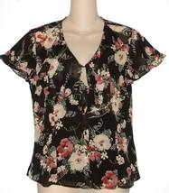 Chaps NEW Black Floral Ruffled Blouse Top & Cami 2 Piece Set Misses Sz S M L $69 - $29.00