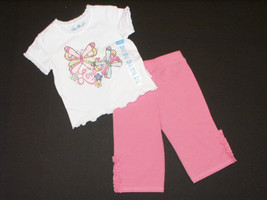 Childrens Place Infant Girls Size 6-9M Pink Butterfly Pants & Top 2-Piece Outfit - $10.00