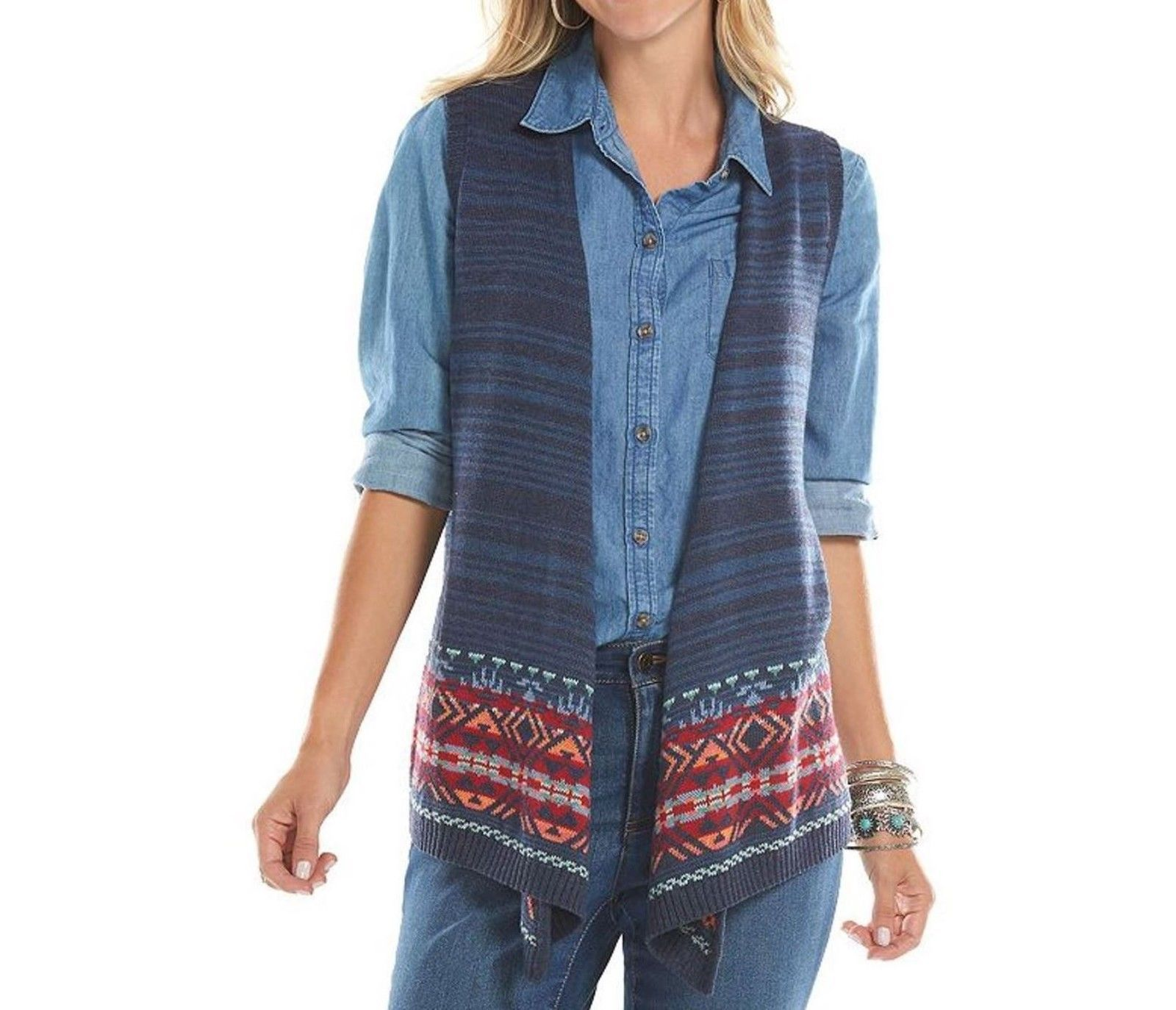 Chaps Blue Open Front Aztec Tribal Border Sweater Vest Womens M L NEW $69