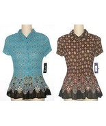 Apt.9 NEW Aqua or Brown Accordion Pleated Top Blouse Shirt Misses Size S... - $17.00