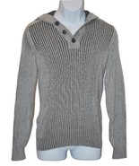 American Rag Men's Henley Hooded Sweater Light Grey with Elbow Patches (... - $19.80