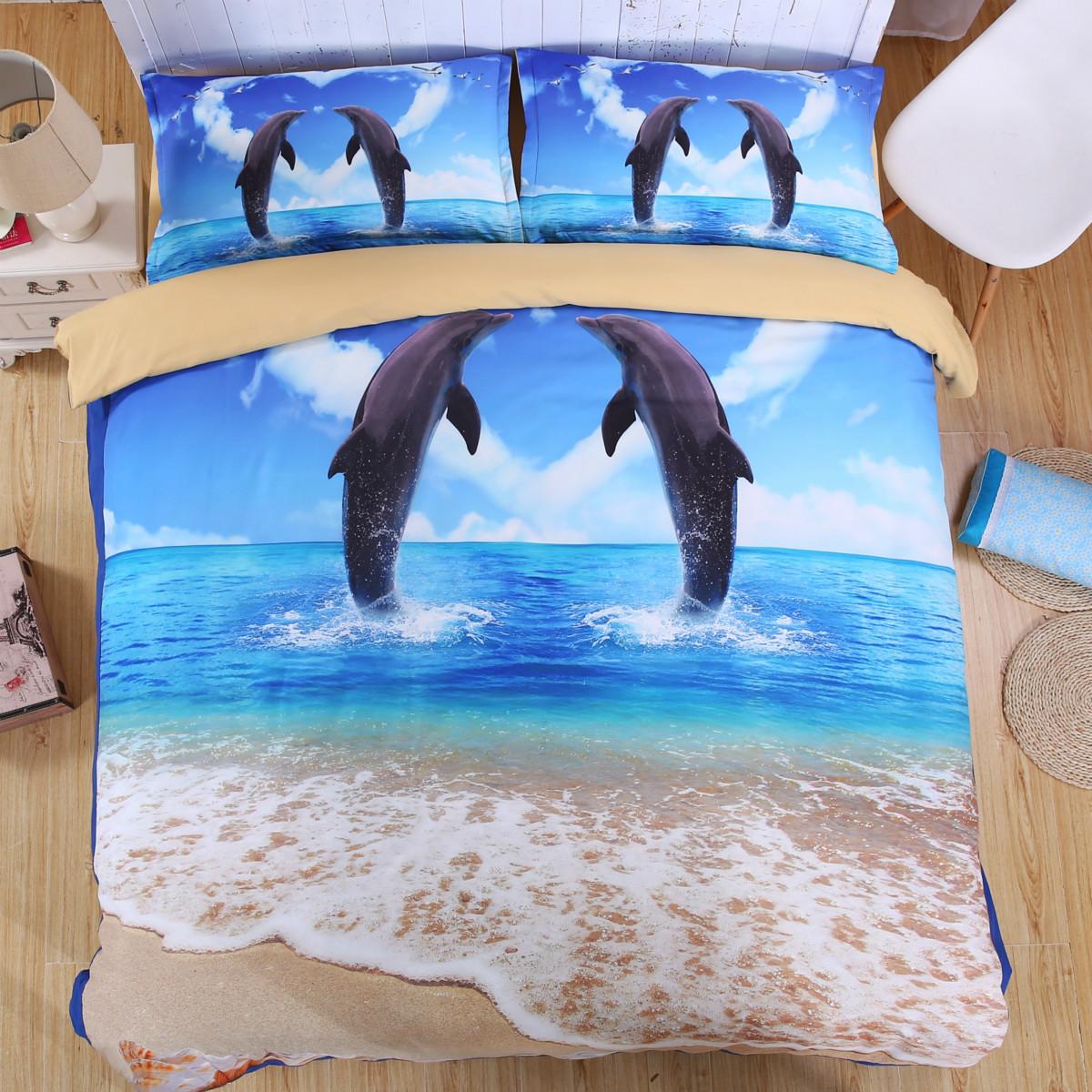 microfiber 3d printing bedding sets dolphin bedding sets kid 39 s bedding sets duvet covers sets. Black Bedroom Furniture Sets. Home Design Ideas