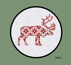 Cross Stitch Pattern Red Deer with Ornament - $4.50