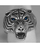 Heavy real Sterling silver .925 Sapphire eyes Tiger Ring Lion Jewelry An... - $68.00