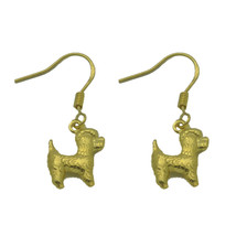 Adorable PUPPY 24kt Gold Plated Sterling silver Earrings Miniature Poodl... - $19.72