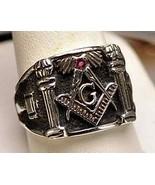 Authentic STERLING SILVER .925 Garnet MASONIC RING Freemason Jewelry fre... - $59.99