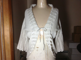 DIVIDED White Knit Sweater Crocheted Arms and Trim Open Front with Tie Size 10