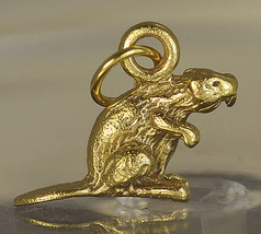 New 3D Solid Real Authentic Genuine 10K Gold Otter Beaver Jewelry charm Pendant - $133.62
