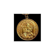 Gold Plated Over Real Solid Sterling Silver Hindu Ganesh OM Charm Pendan... - $32.55