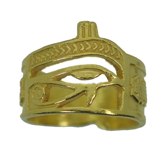 New Authentic 10K Yellow Gold Egpytian Eye of horus Jewelry ring Pick your size
