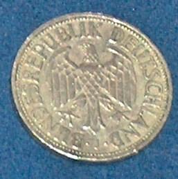 1950 DEUTSCHE 1 MARK J BUNDESREPUBLIK DEUTSCHLAND GERMANY EAGLE COIN VG