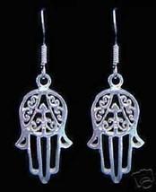 New Hand of Fatima Real Sterling Silver 925 Earrings Islam Allah Islamic... - $30.63