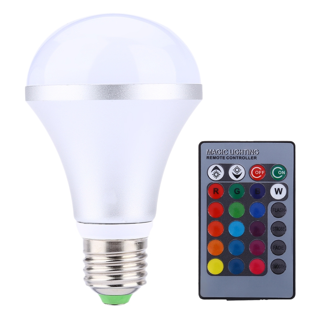 E27 RGB LED Lamp Light 110 - 220V 10W 1000LM LED Bulb 16 Colors Changing Dimmabl, used for sale  USA