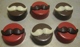 One dozen amazing mustache chocolate covered sandwich cookies - $18.00