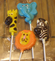 One dozen jungle pops lion giraffe elephant and zebra party favors suckers image 1