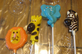 One dozen jungle pops lion giraffe elephant and zebra party favors suckers image 2