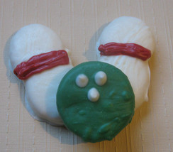 3 piece bowling ball and bowling pins chocolate covered sandwich cookie and pean - $7.00