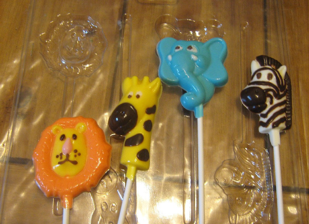 One dozen jungle pops lion giraffe elephant and zebra party favors suckers image 3