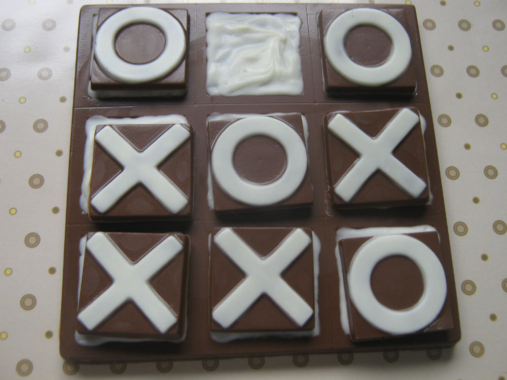 Solid chocolate playable tic tac toe edible chocolate game board image 4