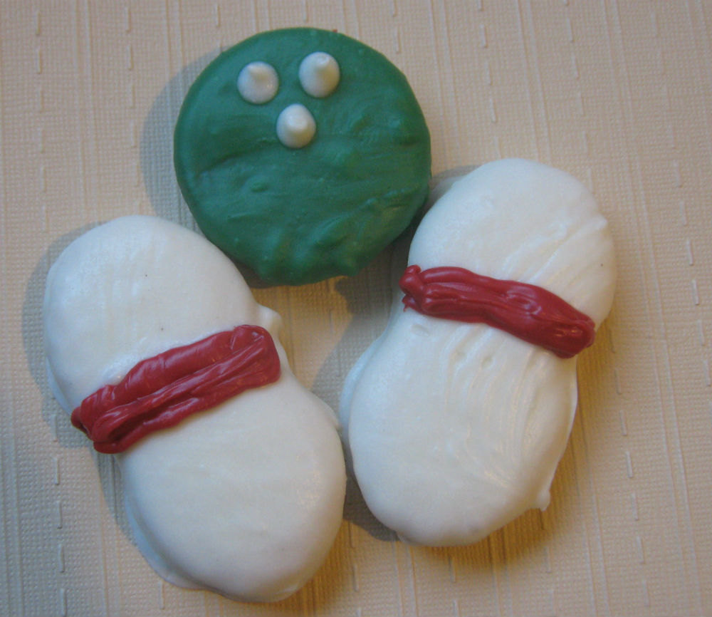 3 piece bowling ball and bowling pins chocolate covered sandwich cookie and pean image 4