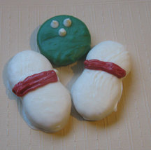 3 piece bowling ball and bowling pins chocolate covered sandwich cookie and pean image 5