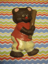 Solid chocolate teddy bear baseball player candy or cake topper - $11.75