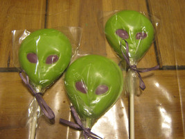 One dozen alien head chocolate lollipops - $18.00
