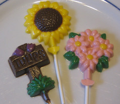 Spring flower mix daisy, tulip, sunflower suckers lollipops party favors - $18.00