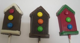 One Dozen Bird House Lollipops with Candy Coated Chocolate Pieces - $19.25