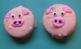 One dozen piggy design chocolate covered sandwich cookie party favors - $18.00
