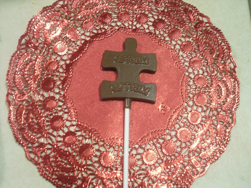 Chocolate Autism Awareness Sucker\/Lollipops