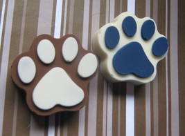 One dozen solid chocolate paw print candy pieces party favors - $21.00