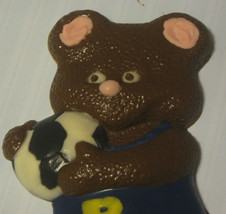 Solid chocolate teddy bear soccer player candy or cake topper - $11.75