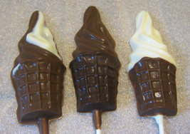 One dozen large soft serve ice cream cone lollipops - $19.25