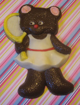 Solid chocolate teddy bear tennis player candy or cake topper - $11.75