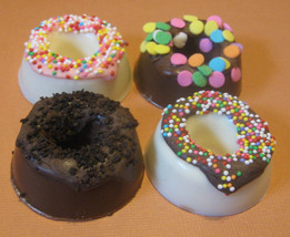 One dozen chocolate candy mini donuts with sprinkles - $21.00