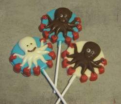 One dozen octopus with hearts lollipop sucker party favors - $21.00