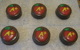 One dozen A plus apple chocolate covered sandwich cookie teacher gift party favo - $18.00