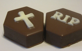 Tombstone cross and rip chocolate covered oreo sandwich cookies party favors - $18.00