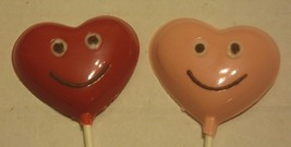 One dozen Heart lollipops with smiley faces - $18.00
