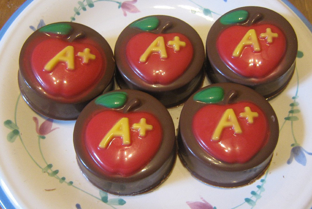 One dozen A plus apple chocolate covered sandwich cookie teacher gift party favo image 2