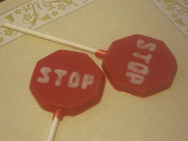 One dozen stop sign lollipop sucker party favors - $18.00