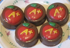 One dozen A plus apple chocolate covered sandwich cookie teacher gift party favo image 3