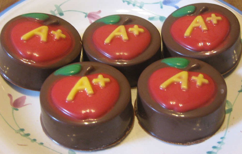 One dozen A plus apple chocolate covered sandwich cookie teacher gift party favo image 4