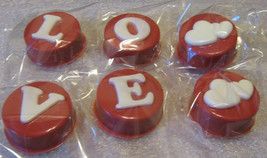 Chocolate covered sandwich cookies valentine wedding love design with hearts - $9.50