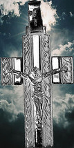 Jesus Christ cross Genuine Sterling silver charm pendant Christian Mirro... - $34.16