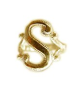 New Real 10K yellow gold letter Initial S ring jewelry - $160.87+
